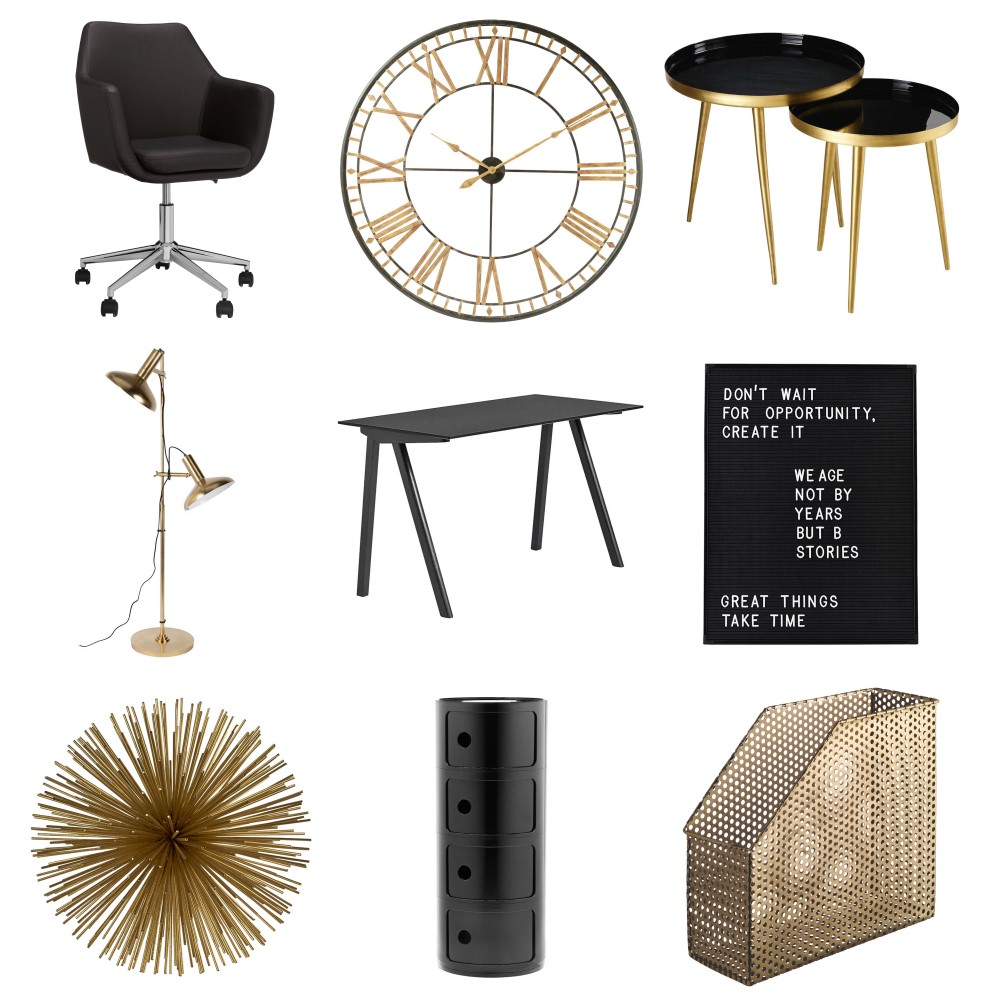 Shop Black and Gold Office Inspiration Board