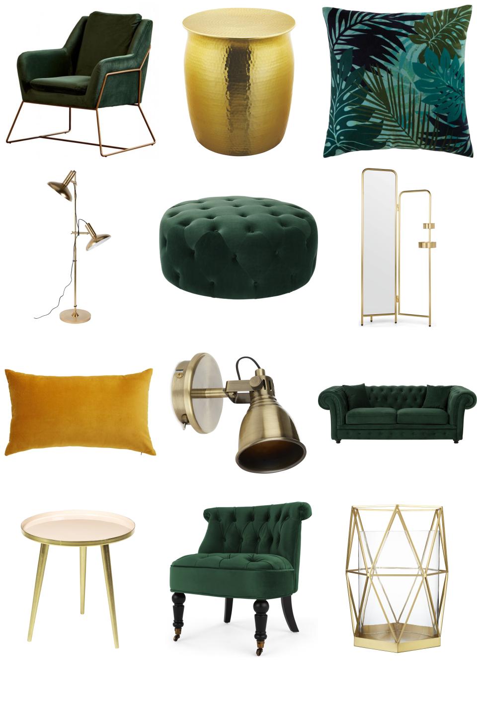 inspiring spacious living room green   Luxe Green and Gold Living Room - Furnishful's Living Room ...
