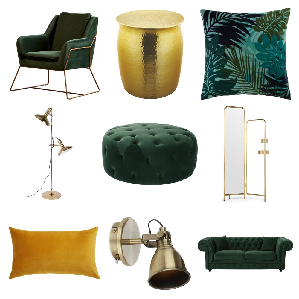 Shop Luxe Green and Gold Living Room Inspiration Board