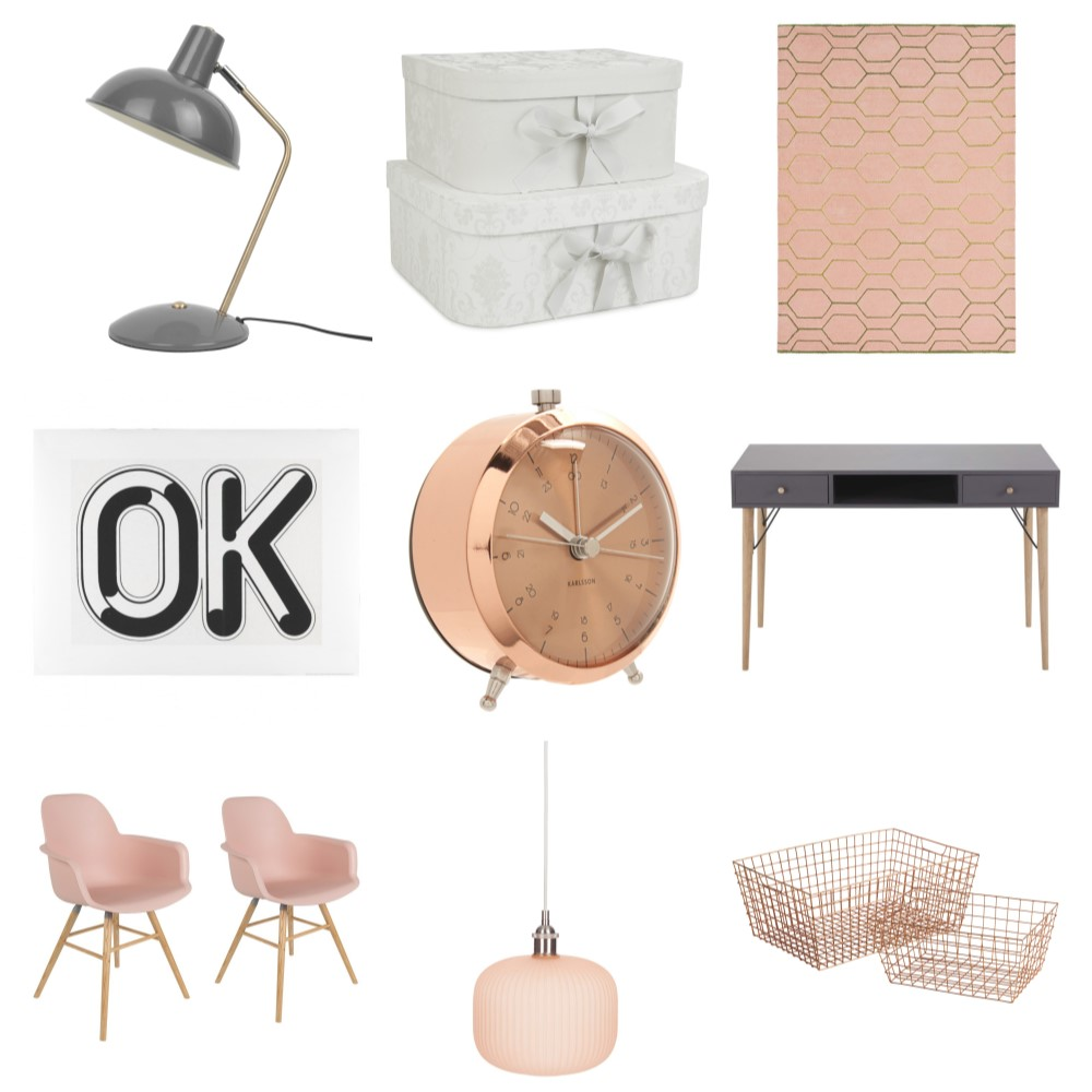 Shop Pink and Grey Office Inspiration Board