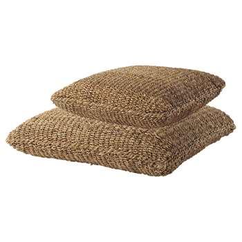2 BENGALI Woven Coir Cushions (63 x 63cm and 83 x 83cm)