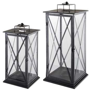 2 COMES metal lanterns H 57cm and H 68cm