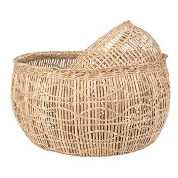 2 Cut-Out Plant Fibre Baskets (H20 x W35 x D40cm)