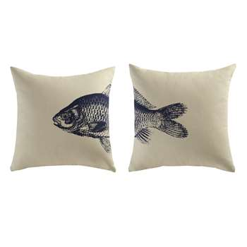 2 FISH cotton cushions in beige / blue (40 x 40cm)