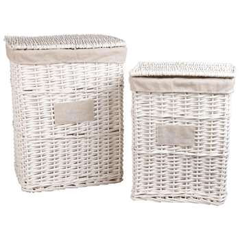2 Linen and Rattan Linen Baskets