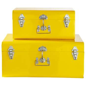2 Metal Trunks In Yellow (25 x 56cm)