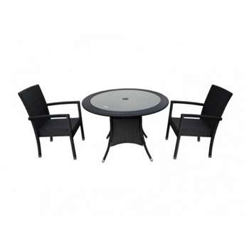 2 Rio armed stacking chairs and small round dining table - Black and Vanilla (72 x 105cm)