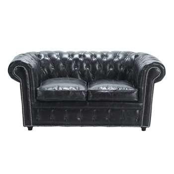 2 seater Chesterfield leather button sofa in black