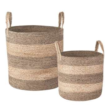 2 Woven Jute Baskets (H40 x W40cm)