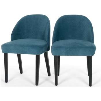 2 x Alec Dining Chairs, Quilted Blue (76 x 52cm)