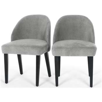 Set of 2 Alec Dining Chairs, Quilted Grey (H76 x W52 x D55cm)