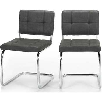 2 x Aston Dining Chairs, Raven Black (78 x 43cm)