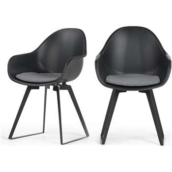 2 x Boone Dining Chairs, Black (90 x 58cm)