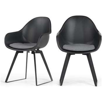 2 x Boone Dining Chairs, Black (90 x 58cm)