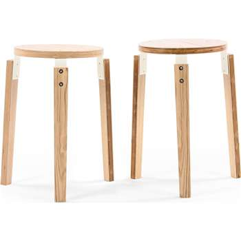 2 x Dorso Stacking Stool, Ash and White (H45 x W29 x D29cm)