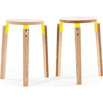 2 x Dorso Stacking Stool, Ash and Yellow (45 x 29cm)