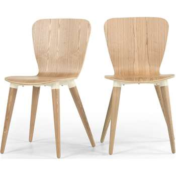 2 x Edelweiss Dining Chairs, Ash and White (81 x 48cm)