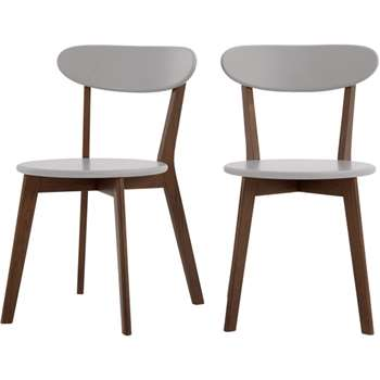 Set of 2 Fjord Dining Chairs, Dark Stain Oak and Grey (H80 x W49 x D55cm)