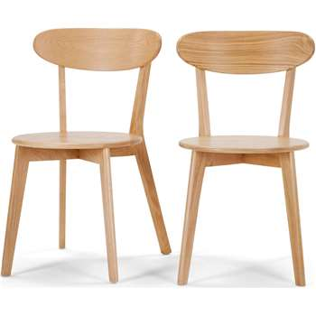 Set of 2 Fjord Dining Chairs, Oak (H80 x W49 x D55cm)