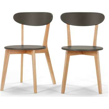 2 x Fjord Dining Chairs, Oak and Grey (80 x 49cm)