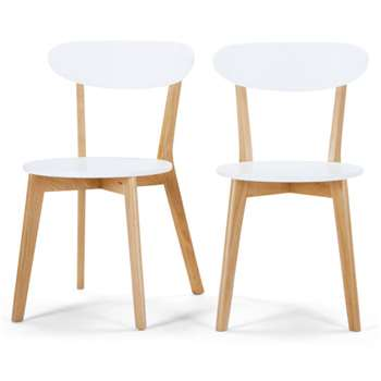 Set of 2 Fjord Dining Chairs, Oak and White (H80 x W49 x D55cm)