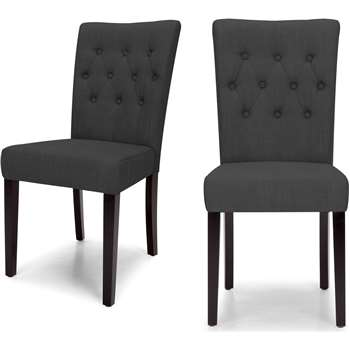 2 x Flynn Dining Chairs, Midnight Black (95 x 45cm)