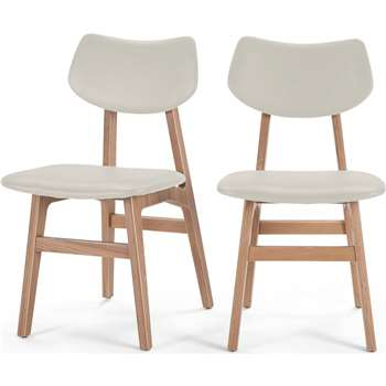 2 x Jacob Dining Chairs, Alabaster and Ash (85 x 45cm)