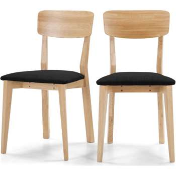 2 x Jenson Dining Chairs, Oak and Dark Grey (84 x 45cm)