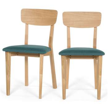 2 x Jenson Dining chairs, Oak and Mineral Blue (84 x 45cm)