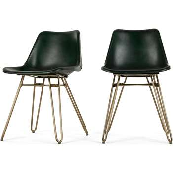 2 x Kendal Dining Chair, Green and Brass (H76 x W46 x D52cm)
