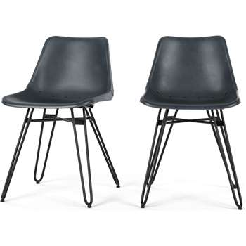 2 x Kendal Dining Chair, Grey leather and Black (H76 x W46 x D52cm)