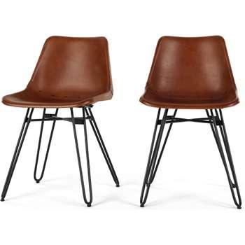 2 x Kendal Dining Chair, Tan and Black (H76 x W46 x D52cm)