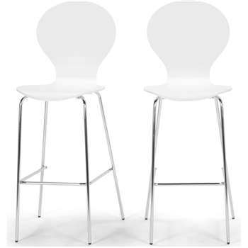 2 x Kitsch Barstool, White and Chrome Legs (117 x 48cm)