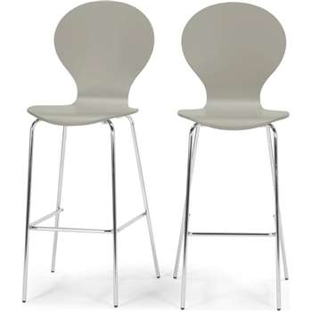 2 x Kitsch Barstool, Willow Grey and Chrome Legs (117 x 48cm)