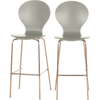 2 x Kitsch Barstools, Grey and Copper Legs (117 x 48cm)
