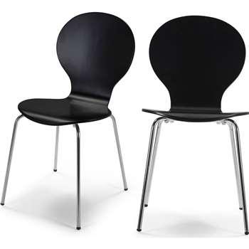2 x Kitsch Dining Chairs, Black (87 x 46cm)