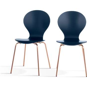 2 x Kitsch Dining Chairs, Blue and Copper (87 x 46cm)