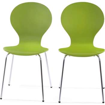 2 x Kitsch Dining Chairs, Meadow Green (87 x 46cm)