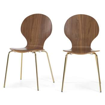 Set of 2 Kitsch Dining Chairs, Walnut and Brass (H87 x W47 x D54cm)