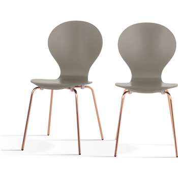 2 x Kitsch Dining Chairs, Willow Grey and Copper Legs (87 x 46cm)