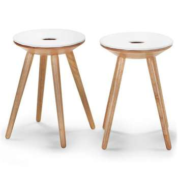 2 x Kitson Stools, Natural Wood and White (H45 x W35 x D35cm)