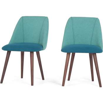 2 x Lule Dining Chairs. Mineral Blue and Emerald Green (83 x 53cm)