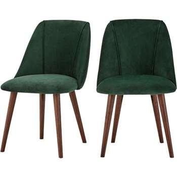 2 x Lule Dining  Chairs, Pine Green Velvet (83 x 53cm)