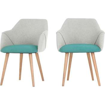 2 x Lule High Back Carver Chairs, Emerald Green and Hail Grey (83 x 60cm)