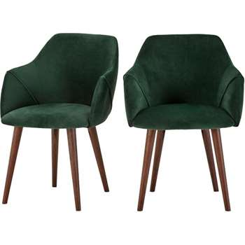 2 x Lule High Back Carver Chairs, Pine Green Velvet (83 x 60cm)