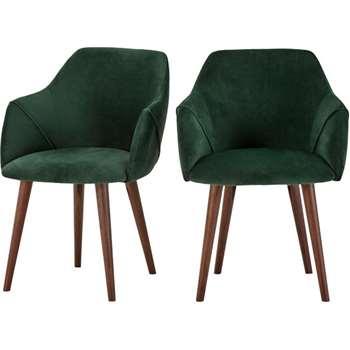 2 x Lule High Back Carver Chairs, Pine Green Velvet (83 x 60cm)
