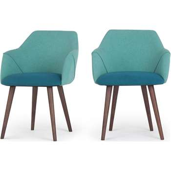 2 x Lule High Back Carver Dining Chairs, Mineral Blue and Emerald Green (83 x 60cm)