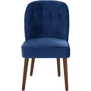 Set of 2 Margot Dining Chairs, Electric Blue Velvet (H86 x W49 x D63cm)