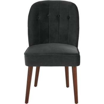 Set of 2 Margot Dining Chairs, Midnight Grey Velvet (H86 x W49 x D63cm)