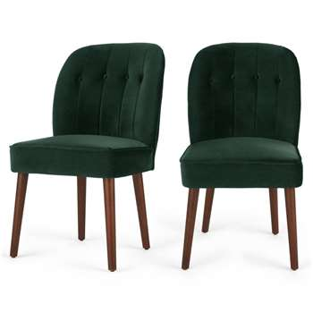 2 x Margot Dining Chairs, Pine Green Velvet (86 x 49cm)